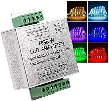 Amplificador RGBW, DC12-24V 24A Circuito de salida de 4 canales Repetidor de señal de datos del controlador de tira LED de aluminio LED