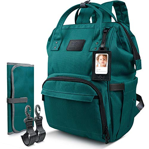 (Qipi Diaper Backpack Bag - Spacious & Smart Multi-Function Maternity Nappy Bag with Built-in Changing Pad & Tissue Dispenser, Waterproof Baby Care Backpack for Moms & Dads - Ocean Green)
