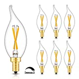 vintage looking ceiling fan - CRLight LED Candelabra Bulb 2W 2500K Warm White, 20W Equivalent 200LM E12 Base Dimmable LED Candle Bulbs, CA11 Clear Glass Mini Flame Shape, 360 Degrees Beam Angle, 6 Pack