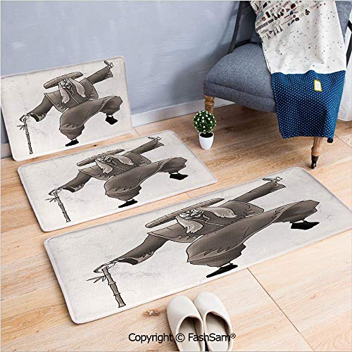 FashSam 3 Piece Non Slip Flannel Door Mat Orient Style Artist with Makeup and Costume Pose Dance Ancient Art Decorative Indoor Carpet for Bath Kitchen(W15.7xL23.6 by W19.6xL31.5 by W35.4xL62.9)