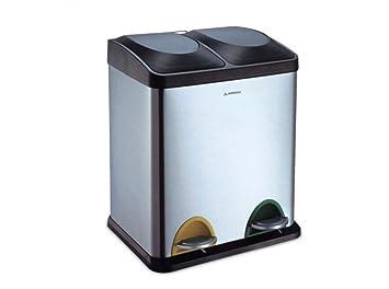 Arregui CR705-30L Cubo de Reciclaje de Acero Inoxidable con 2 Compartimentos, Gris: Amazon.es: Bricolaje y herramientas