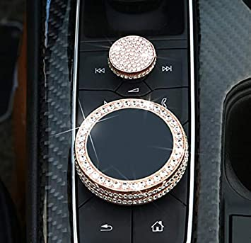 NIUHURU Car Interior Trim Bling Accessories Central Control Volume Knob Decorative Sticker Rhinestone Decals fit for Cadillac CT5 XT4 CT6 XT5 XT6 Accessories. Rose Gold