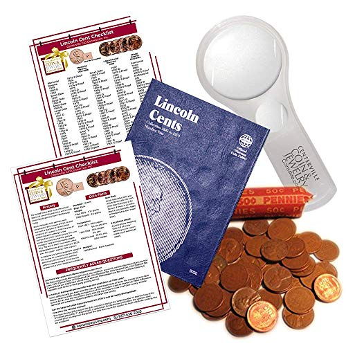 Lincoln Wheat Penny Starter Collection Kit, Part Two, Whitman [9030] Lincoln Cent Folder Vol. 2, One Roll of Wheat Cents, Magnifier and Checklist, (4 Items) Great Start for Beginner Collectors