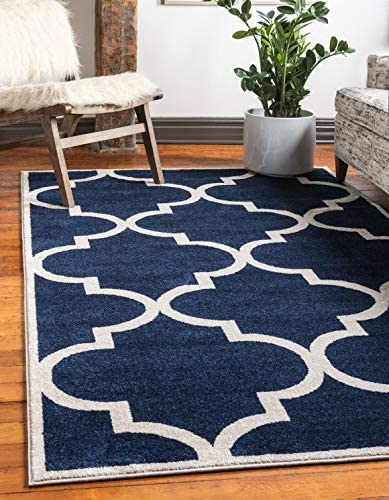 Unique Loom Trellis Collection Moroccan Lattice Navy Blue Area Rug 10 0 x 13 0
