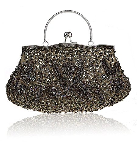 Evening Purse Party Handbags Beaded Clutch green for Puluo Sequined with Bag Bag Women Grey qcCU1Y4