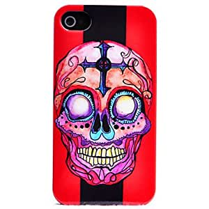 SJT Red Cartoon Skull Pattern Back Case for iPhone 4/4S