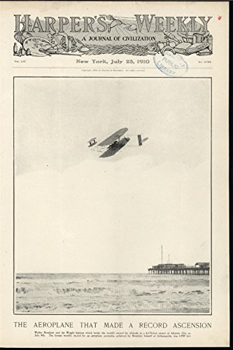 Record Ascension Early Aviation Wright Biplane Beach 1910 antique historic print ()