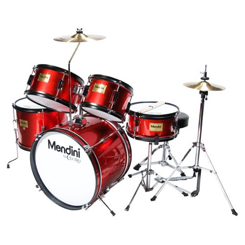 Mendini by Cecilio 16 inch 5-Piece Complete Kids / Junior Drum Set with Adjustable Throne, Cymbal, Pedal & Drumsticks, Metallic Bright Red, - Junior Kids