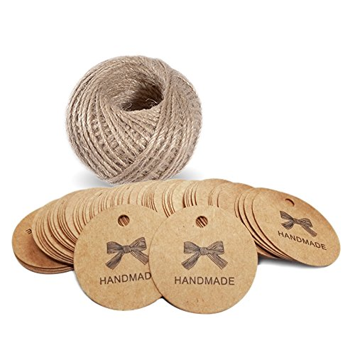 "G2PLUS 100 PCS 'Handmade' Printed Kraft Paper Hang Tags 1.7"" Round Tags Craft Gift Tags with 100 Feet Natural Jute Twine"