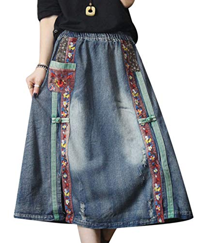 YESNO Girls Casual Long Maxi Denim Skirt Distressed Ethnic Floral Patched Chinese Knots Decorated 'A' Line Side Slit Floral Patched Pocket Y0A
