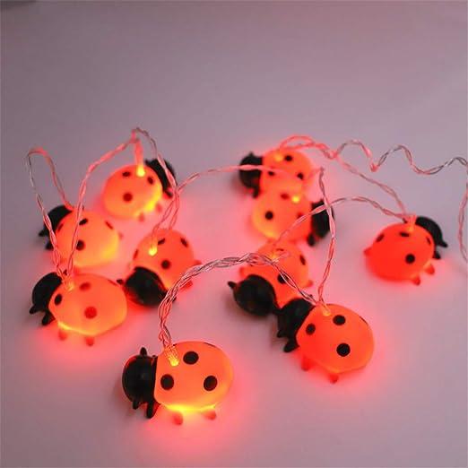 Cadena de luces LED con diseño de animales, funciona con pilas, decoración para jardín, árboles, terraza, Navidad, bodas, fiestas, interior y exterior, 150 cm (mariquita): Amazon.es: Iluminación