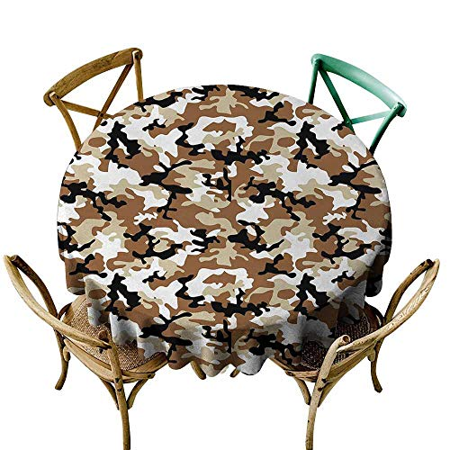 Oncegod Tablecloth for Kids/Childrens Camouflage Abstract Army Military Style in Various Shades of Brown Pattern Stain Resistant, Washable 50 INCH Light Caramel Tan Black