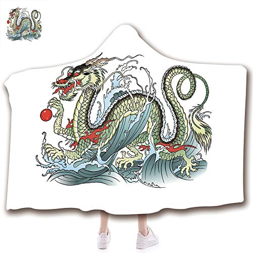 Fashion Blanket Ancient China Decorations Blanket Wearable Hooded Blanket,Unisex Swaddle Blankets for Babies Newborn by,Water Dragon Splashing Waves Legend Creature,Pale,Adult Style Children Style