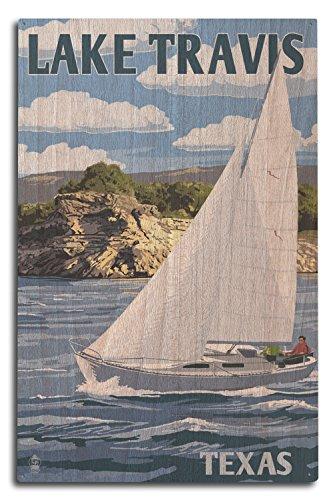 - Lantern Press Austin, Texas - Lake Travis Sailing Scene (10x15 Wood Wall Sign, Wall Decor Ready to Hang)