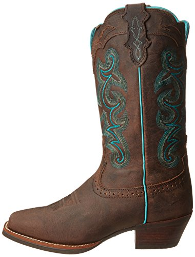 """Justin Boots Women's Silver Collection 12"""" Punchy Boot Wide Square Single Stitch Brown Rubber Outsole,Chocolate Puma Buffalo,6.5 B US"""