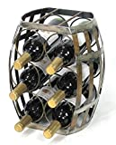 6 Bottle Barrel Shaped Metal Wine Rack- Free Standing Wine bottle holder