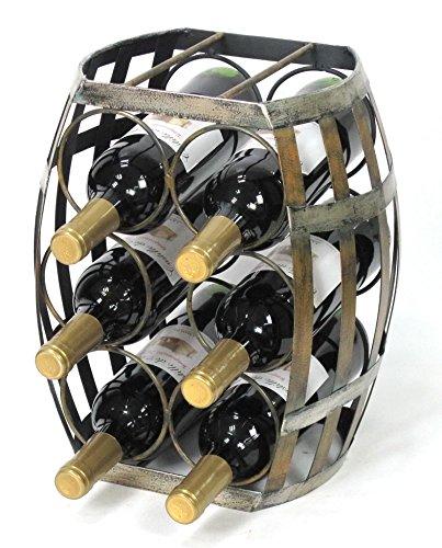 6 Bottle Barrel Shaped Metal Wine Rack- Free Standing Wine Bottle Holder (Holders Metal Wine Bottle)