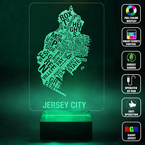 CMLART Handmade Jersey City Map Leter Art 3d Lamp RGB Full Color 44 Key Remote control LED Night Light Best Gift Desk Table Lighting Home Decoration Toys Iowa Led Desk Lamp