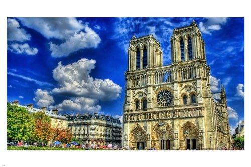 Cathedral Notre Dame De Paris poster blue sky Famous landmark France