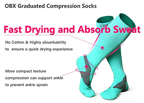 OBX Compression Socks for Men & Women-Professional Fit for Ruining&Racing-Knee High Socks for Athletics,Marathon,Travel,Shin Splints,hiking&Outdoor sports-Best for Muscle Recovery(1 pair) by OBX (Image #2)
