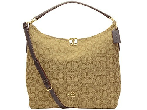 Coach Outline Signature Celeste Convertible Hobo in Khaki/Brown, F58327 IMC7C (Coach Hobo Handbags)