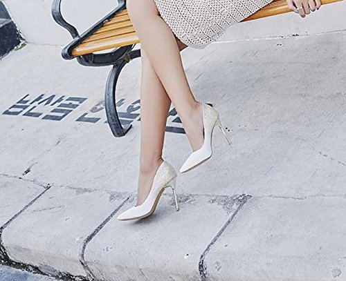 Single Gold Heel White Sexy Lady MDRW Change Gradual Elegant Bride 36 10Cm Leisure Shoe Shoes Shoes Fine Spring Mouth Sharp Work High Heel Shallow UqB40qw6M