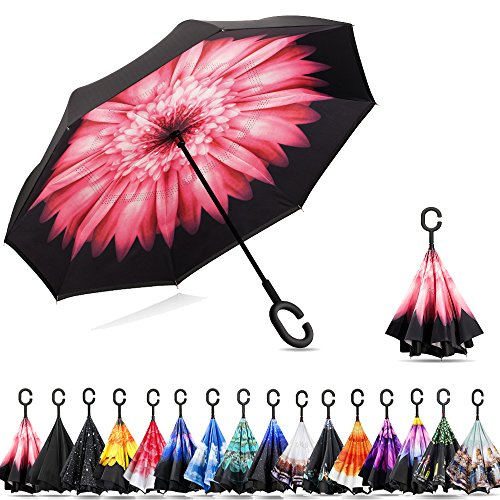 Ylovetoys Double Layer Inverted Umbrella with C-Shaped Handle, Windproof Car Open Folding Reverse Umbrella UV Protection Large Upside Down Straight Umbrella for Car Rain Outdoor (Red (Reverse Walking)