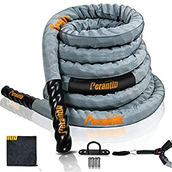 Image of Core & Abdominal Trainers Perantlb 100% Poly Dacron Heavy Grey Battle Rope - 2' Diameter, 30' 40' 50' Lengths - Upgraded Durable Protective Sleeve - Gym Muscle Toning Metabolic Workout Fitness - Anchor Strap Kit Included