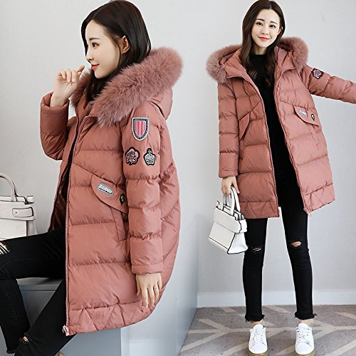 Section Hair Women Collar Long Xuanku Big Cocoon The Thick Type Of In Cotton Loose Pink Cotton Winter The Jacket vwwEHY