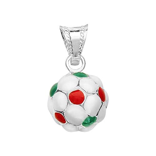 So Chic Joyas - Colgante Hombre Balón Fútbol Italia Verde Blanco ...