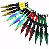 New 12pc 7. 5'' Titanium Mix Ninja Tactical Naruto Kunai Throwing EcoGift Nice Knife with Sharp Blade Set Hunting - Great For Fun And Practical Use