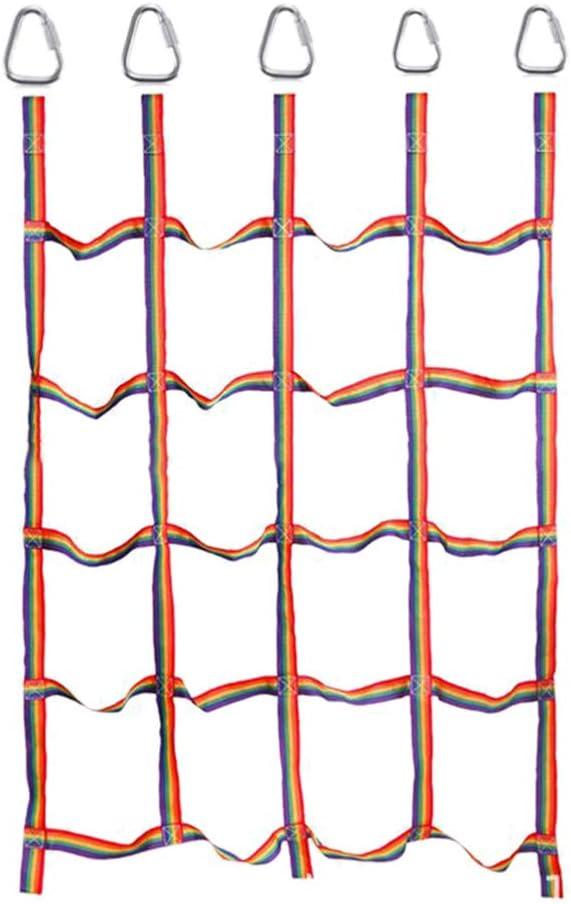 Kids Climbing Cargo Net Climbing Net Outdoor Rainbow Ribbon Net Playground Climber Play Physical Training Climbing Net for Kids Toddlers Children Daily Sports Adventure Entertainment - U.S. Inventory