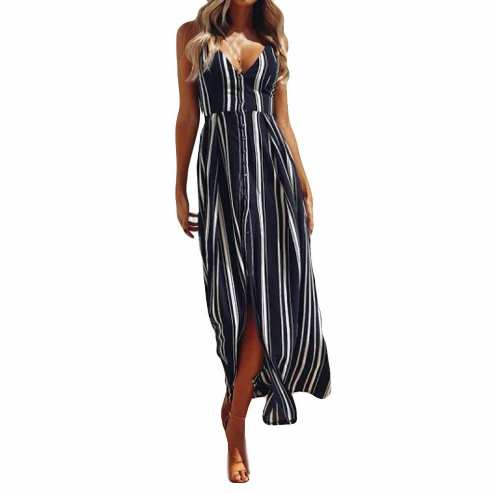 TiTCool Women's Sexy Deep V Neck Stripe Backless Split Maxi Cocktail Long Beach Dresses (L, Navy)