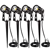 GreenClick 4 Pack 3W LED Landscape Spotlight Outdoor, 6.5ft Cable 12V Low Voltage Landscape Lighting Garden Pathway Lights IP65 Waterproof with Spike Stand for Garden,Yard,Lawn Review