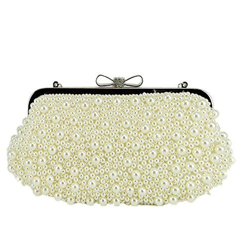 Female Vintage Braided Rhinestone Crystal Clasp Clutch Evening Bags Party Gift White (Cinderella Type Prom Dress compare prices)