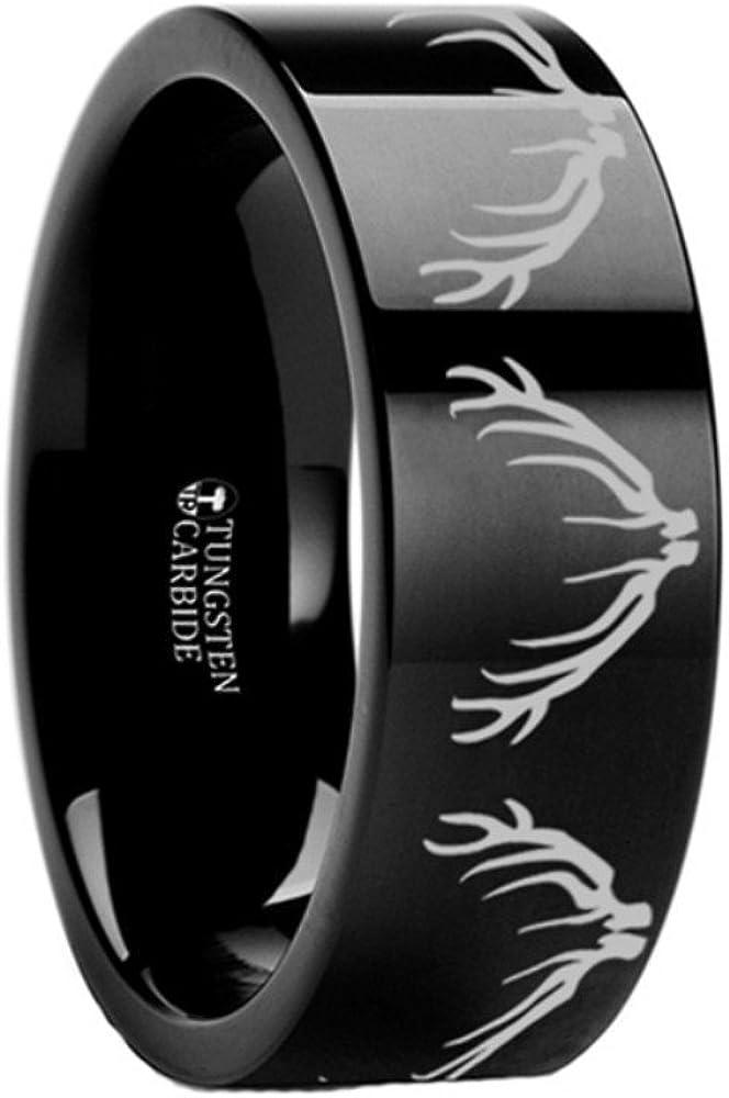 Thorsten ELK Antler Rack Animal Deer Print Pattern Flat Tungsten Ring 12mm Wide Wedding Band from Roy Rose Jewelry