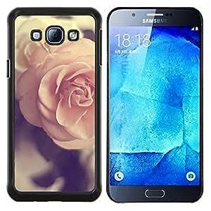 EJOOY---Cubierta de la caja de protección para la piel dura ** Samsung Galaxy A8 A8000 ** --amor de primavera del rosa del vintage subió viñeta