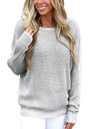 Asvivid Women's Sexy Criss Cross V Neck Backless Loose Autumn Knitted Pullover Sweaters S Grey by Asvivid (Image #1)