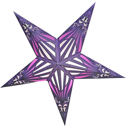 PaperLanternStore.com 24'' Purple Sunshine Window Paper Star Lantern, Hanging Decoration