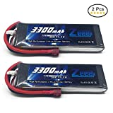 Zeee 3S 3300mAh 30C 11.1V LiPo Drone Battery with T-connector Plug for RC Helicopter Airplane Drone and FPV Model, 2 Pcs
