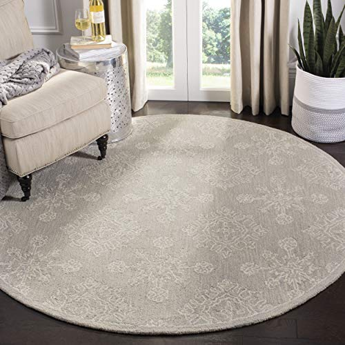 Safavieh Blossom Collection BLM950A Light Beige Premium Wool Area Round Rug (6' Diameter)