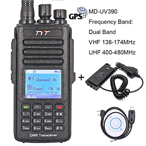 TYT MD-UV390 DMR 5W Digital Walkie Talkie, UHF 400-480MHz & VHF 136-174 MHz Dual-Band 1000 Channels...