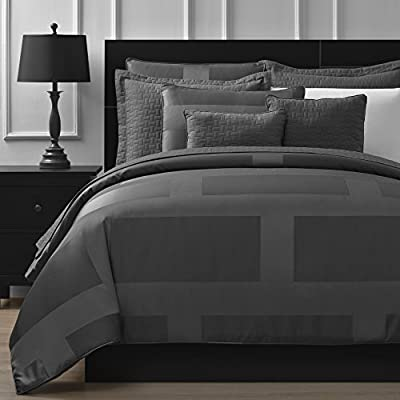 """Comfy Bedding Frame Jacquard Microfiber Queen 5-piece Comforter Set, Gray - 1 QUEEN size comforter 90"""" x 92"""", 2 STANDARD pillow cases 20"""" x 26"""", 1 Square Decorative Pillow 18"""" x 18"""" & 1 Rectangle Decorative Pillow 12"""" x 18"""" Jacquard fabric is weaved to express varied brightness and pattern effects 100% soft microfiber cover and filling for hypoallergenic as well as softness - comforter-sets, bedroom-sheets-comforters, bedroom - 51A5x6WdS9L. SS400  -"""