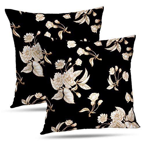 Kayel Retro FloralThrow Pillow Covers, Set of 2 18x18 Inch Chinese Plum White Flower with Gold Foil Black Bedroom Living Room Sofa Home Decoration Pillowslip