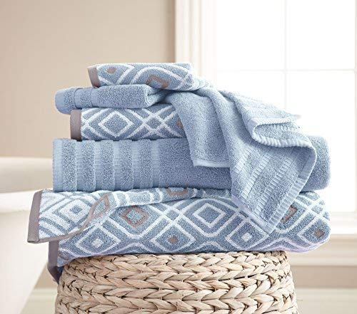 Amrapur Overseas 6-Piece Yarn Dyed Oxford Stripe Jacquard/Solid Ultra Soft 500GSM 100% Combed Cotton Towel Set [Blue]