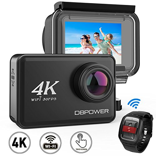 "51A5xVqsZML - DBPOWER D5 Native 4K EIS Action Camera 2"" LCD Touchscreen 14MP WiFi Waterproof Sports Camera with 4K 30fps Video and 170° Wide-Angle Lens 2.4GHz Remote Control 2 Pcs Rechargeable Batteries"