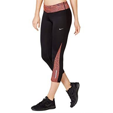 55374842e19c1 Nike Women's Printed Racer Crop 2.0, Black/Hyper Orange/Reflective Silver XS  X 22 at Amazon Women's Clothing store: