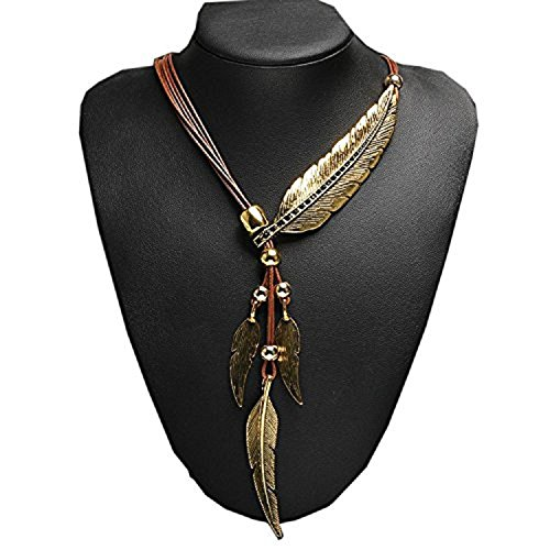 Feather Pendant - Fanala Women Bronze Rope Chain Feather Pendant Choker Chunky Statement Necklace