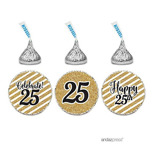 25th Anniversary Favor Boxes (Andaz Press Milestone Chocolate Drop Labels Trio, Fits Hershey's Kisses Party Favors, Celebrate 25, 25th Birthday or Anniversary, 216-Pack, Printed Gold Glitter, Not Real Glitter)