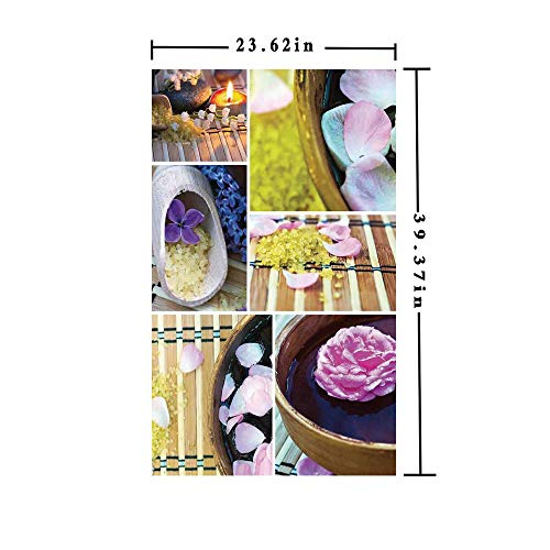 No Glue Static Cling Window Film Decorate by Spa Organic Cosmetics Theme Wooden Bowl Petals Lavender Candle Pebbles Therapy Oil,W15.7xL63in,for Living Room Bathroom Kitchen Front Door with Purple Bro